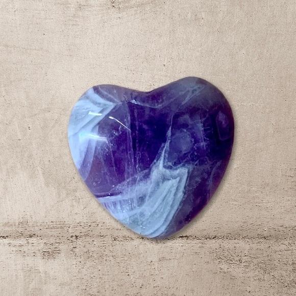 Heart Shaped Amethyst Meditation Palm Stone